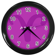 Zodiac Aries Wall Clocks (black) by Mariart