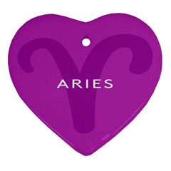 Zodiac Aries Heart Ornament (two Sides) by Mariart
