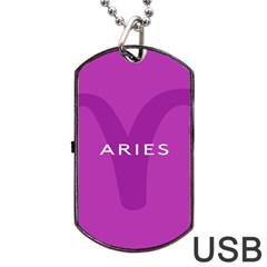 Zodiac Aries Dog Tag Usb Flash (two Sides) by Mariart