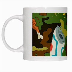 Urban Camo Green Brown Grey Pizza Strom White Mugs by Mariart