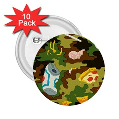 Urban Camo Green Brown Grey Pizza Strom 2 25  Buttons (10 Pack)  by Mariart