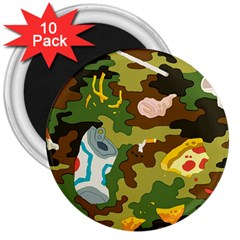 Urban Camo Green Brown Grey Pizza Strom 3  Magnets (10 Pack)  by Mariart