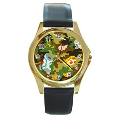 Urban Camo Green Brown Grey Pizza Strom Round Gold Metal Watch by Mariart