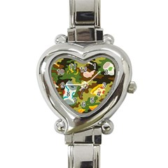 Urban Camo Green Brown Grey Pizza Strom Heart Italian Charm Watch by Mariart