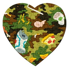 Urban Camo Green Brown Grey Pizza Strom Jigsaw Puzzle (heart) by Mariart