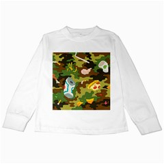 Urban Camo Green Brown Grey Pizza Strom Kids Long Sleeve T Shirts by Mariart