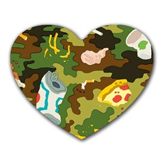 Urban Camo Green Brown Grey Pizza Strom Heart Mousepads by Mariart