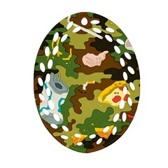 Urban Camo Green Brown Grey Pizza Strom Oval Filigree Ornament (two Sides) by Mariart