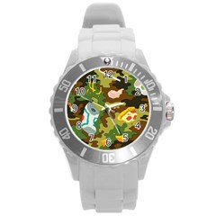 Urban Camo Green Brown Grey Pizza Strom Round Plastic Sport Watch (l) by Mariart