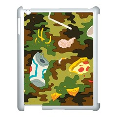 Urban Camo Green Brown Grey Pizza Strom Apple Ipad 3/4 Case (white) by Mariart
