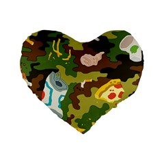 Urban Camo Green Brown Grey Pizza Strom Standard 16  Premium Heart Shape Cushions by Mariart