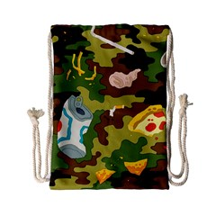 Urban Camo Green Brown Grey Pizza Strom Drawstring Bag (small) by Mariart