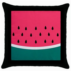 Watermelon Red Green White Black Fruit Throw Pillow Case (black) by Mariart