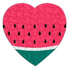 Watermelon Red Green White Black Fruit Jigsaw Puzzle (heart) by Mariart