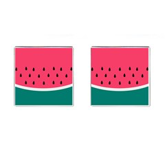 Watermelon Red Green White Black Fruit Cufflinks (square) by Mariart