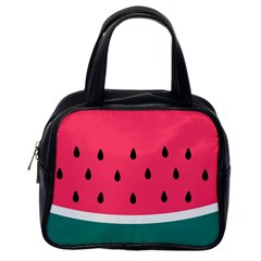 Watermelon Red Green White Black Fruit Classic Handbags (one Side) by Mariart
