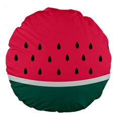 Watermelon Red Green White Black Fruit Large 18  Premium Flano Round Cushions by Mariart