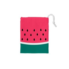 Watermelon Red Green White Black Fruit Drawstring Pouches (xs)  by Mariart