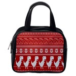 Red Dinosaur Star Wave Chevron Waves Line Fabric Animals Classic Handbags (One Side) Front