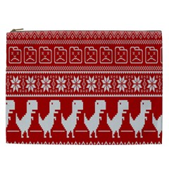 Red Dinosaur Star Wave Chevron Waves Line Fabric Animals Cosmetic Bag (xxl)  by Mariart