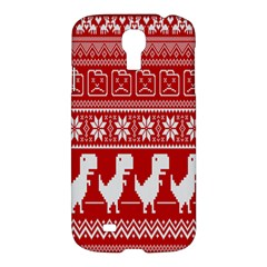 Red Dinosaur Star Wave Chevron Waves Line Fabric Animals Samsung Galaxy S4 I9500/i9505 Hardshell Case by Mariart
