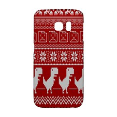 Red Dinosaur Star Wave Chevron Waves Line Fabric Animals Galaxy S6 Edge by Mariart