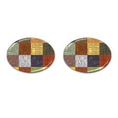 Blocky Filters Yellow Brown Purple Red Grey Color Rainbow Cufflinks (oval) by Mariart