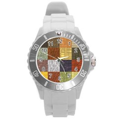 Blocky Filters Yellow Brown Purple Red Grey Color Rainbow Round Plastic Sport Watch (l) by Mariart