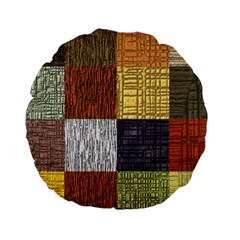 Blocky Filters Yellow Brown Purple Red Grey Color Rainbow Standard 15  Premium Round Cushions by Mariart