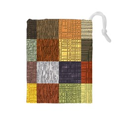 Blocky Filters Yellow Brown Purple Red Grey Color Rainbow Drawstring Pouches (large)  by Mariart