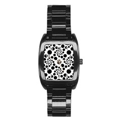 Pattern Stainless Steel Barrel Watch