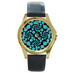 Pattern Round Gold Metal Watch