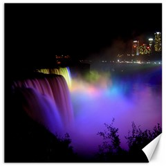 Niagara Falls Dancing Lights Colorful Lights Brighten Up The Night At Niagara Falls Canvas 12  X 12   by Simbadda