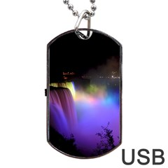 Niagara Falls Dancing Lights Colorful Lights Brighten Up The Night At Niagara Falls Dog Tag Usb Flash (two Sides) by Simbadda