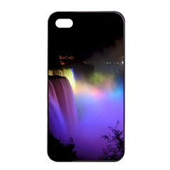 Niagara Falls Dancing Lights Colorful Lights Brighten Up The Night At Niagara Falls Apple Iphone 4/4s Seamless Case (black) by Simbadda
