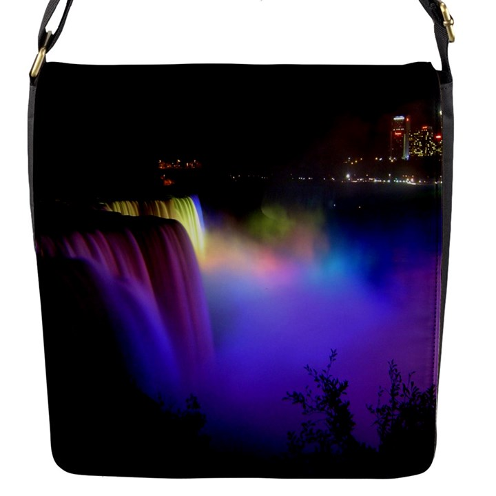 Niagara Falls Dancing Lights Colorful Lights Brighten Up The Night At Niagara Falls Flap Messenger Bag (S)