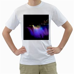 Niagara Falls Dancing Lights Colorful Lights Brighten Up The Night At Niagara Falls Men s T Shirt (white)