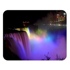 Niagara Falls Dancing Lights Colorful Lights Brighten Up The Night At Niagara Falls Double Sided Flano Blanket (large)  by Simbadda