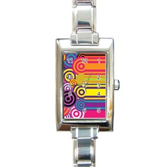 Retro Circles And Stripes Colorful 60s And 70s Style Circles And Stripes Background Rectangle Italian Charm Watch by Simbadda