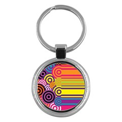Retro Circles And Stripes Colorful 60s And 70s Style Circles And Stripes Background Key Chains (round)  by Simbadda