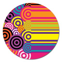 Retro Circles And Stripes Colorful 60s And 70s Style Circles And Stripes Background Magnet 5  (round)