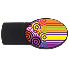 Retro Circles And Stripes Colorful 60s And 70s Style Circles And Stripes Background Usb Flash Drive Oval (2 Gb) by Simbadda