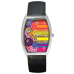 Retro Circles And Stripes Colorful 60s And 70s Style Circles And Stripes Background Barrel Style Metal Watch by Simbadda