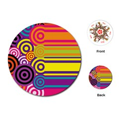 Retro Circles And Stripes Colorful 60s And 70s Style Circles And Stripes Background Playing Cards (round)  by Simbadda