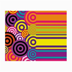 Retro Circles And Stripes Colorful 60s And 70s Style Circles And Stripes Background Small Glasses Cloth (2 Side) by Simbadda