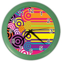 Retro Circles And Stripes Colorful 60s And 70s Style Circles And Stripes Background Color Wall Clocks by Simbadda