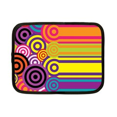 Retro Circles And Stripes Colorful 60s And 70s Style Circles And Stripes Background Netbook Case (small)  by Simbadda