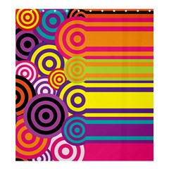 Retro Circles And Stripes Colorful 60s And 70s Style Circles And Stripes Background Shower Curtain 66  X 72  (large)  by Simbadda