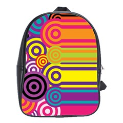 Retro Circles And Stripes Colorful 60s And 70s Style Circles And Stripes Background School Bags(large)  by Simbadda