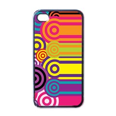 Retro Circles And Stripes Colorful 60s And 70s Style Circles And Stripes Background Apple Iphone 4 Case (black)